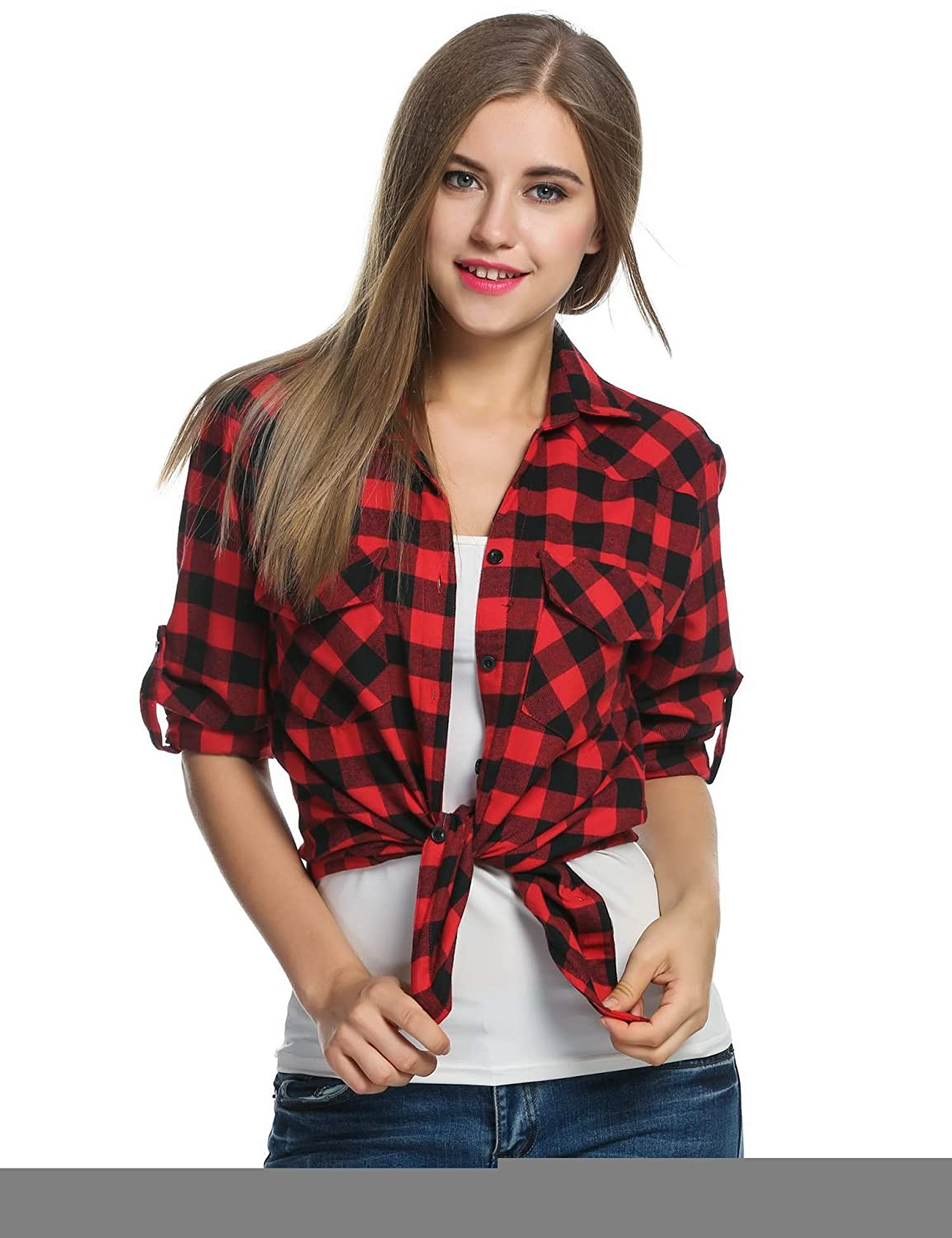 4d62f07d eshion red Checked Shirt Womens Black and Yellow Plaid Shirt Button-Down  Shirts at Amazon Women's Clothing store: