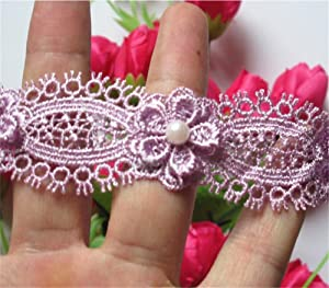 2 Meters Flower Pearl Eyelash Lace Edge Trim Ribbon 3 cm Width Vintage Style Purple Edging Trimmings Fabric Embroidered Applique Sewing Craft Wedding Dress Embellishment Decor Clothes Embroidery