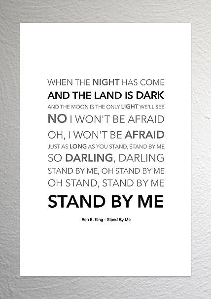 Ben E  King - Stand By Me - Funky Lyric Art Print - A4 Size