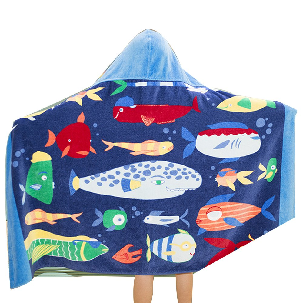 Houzemann Baby Kid's Hooded Bath Towel 100% Cotton Toddler Children Beach/Swim Towel 100% Cotton Cutie with Pattern—-Fire Truck/Dinosaur/Whale