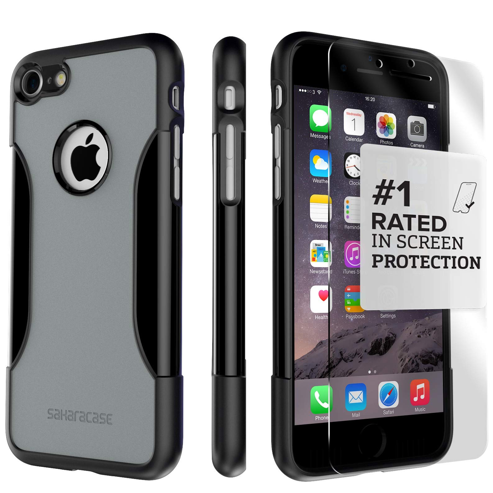iPhone 8 Case and 7 Case, SaharaCase Protective Kit Bundle with [ZeroDamage Tempered Glass Screen Protector] Rugged Protection Anti-Slip Grip [Shockproof Bumper] Slim Fit - Black Gray by Sahara Case