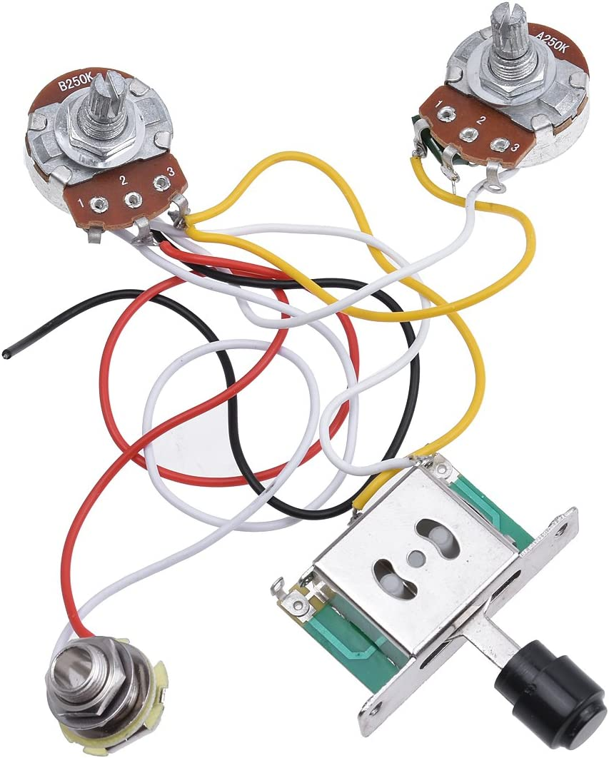 Kmise Prewired Wiring Harness Kit 3 Way Toggle Switch 250k Pots Jack For Fender Telecaster Tele Electric Guitar Parts 1 Set Amazon Co Uk Musical Instruments