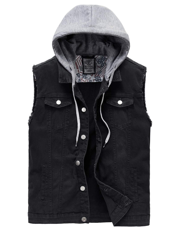 Heihuohua Men's Casual Button-Down Denim Vest Trucker Jean Jacket with Hoodie Black by Heihuohua