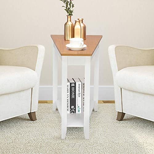 Goujxcy Modern Wedge End Table, 2-Tier End Table Narrow Tiered Side Table Home Office Telephone Table