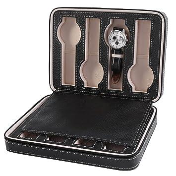 Asixx Caja para Relojes, Estuche de Relojes, con 8 Compartimentos, para Guardar Relojes En El Hogar, Viajes, Negocios, Etc(Negro): Amazon.es: Hogar