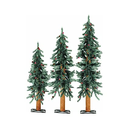 unlit frosted alpine artificial christmas tree set of 3 color white red