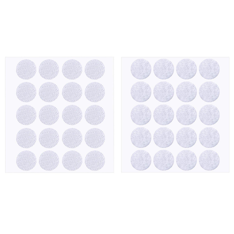 200 Pièces 2 cm Diamètre Crochet Autocollant et Crochet Rond Boucle (Blanc) Pangda