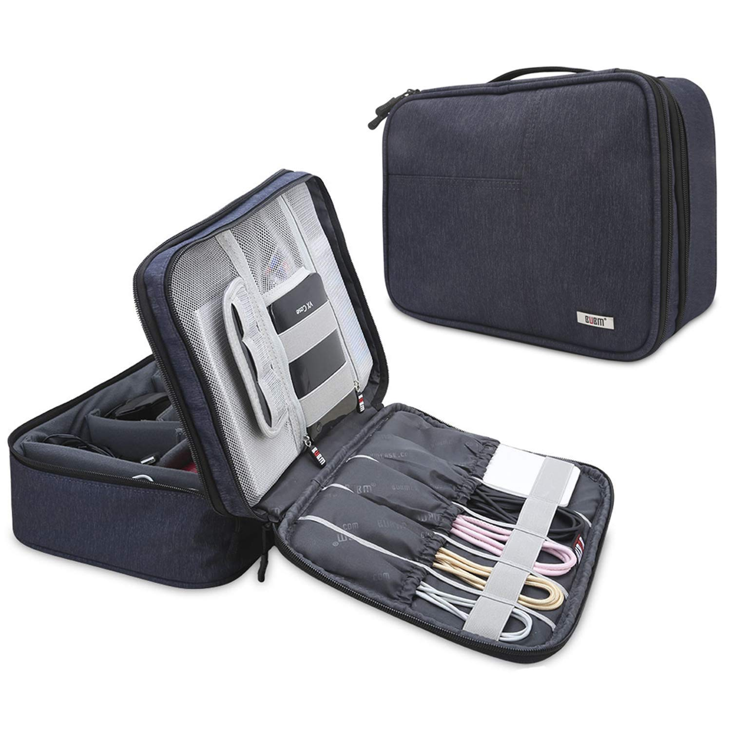 BUBM Electronic Organizer, Double Layer Electronic Bag for Cables, Plugs, External Hard Drive and Other Electronic Accessories (Large/Dark Blue)