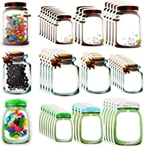 50 Pieces Mason Jar Bottles Bags Mason Jar Zipper Lock Bags Reusable Food Storage Bags Snacks Sandwich Zipper Sealed Bags Fresh Bags Airtight Seal Storage Bags Nuts Candy Cookies Bags