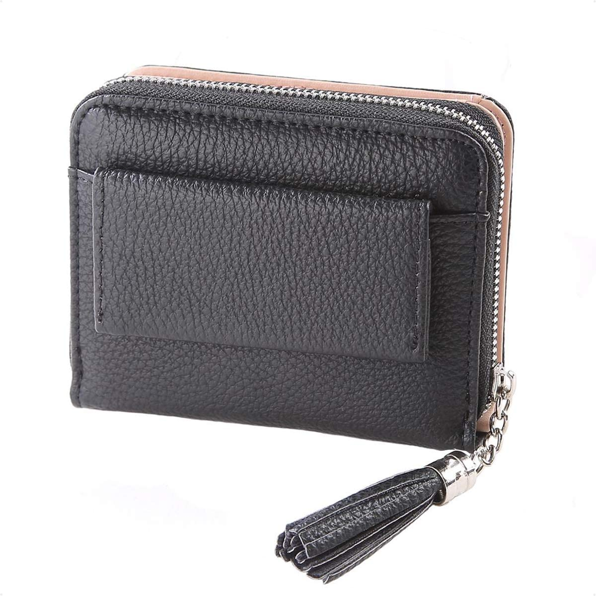 Women Small Wallet Lady Mini Purse Bifold Leather Short Wallet Rfid Blocking With Id Window A Black At Amazon Women S Clothing Store