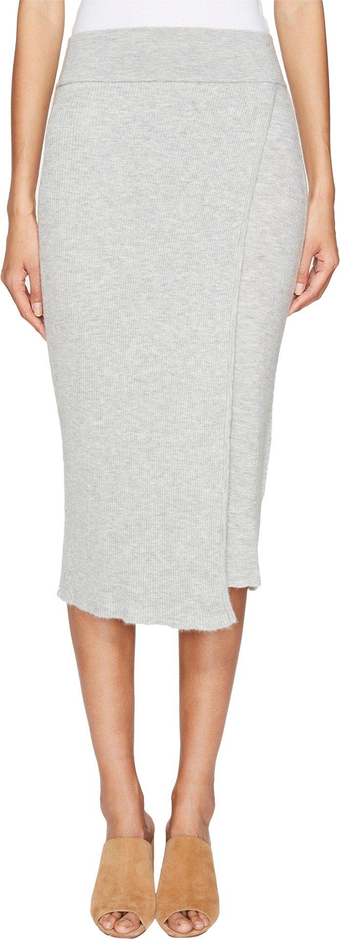 Cashmere In Love Women's Capri Ribbed Knit Skirt Melange Grey Medium