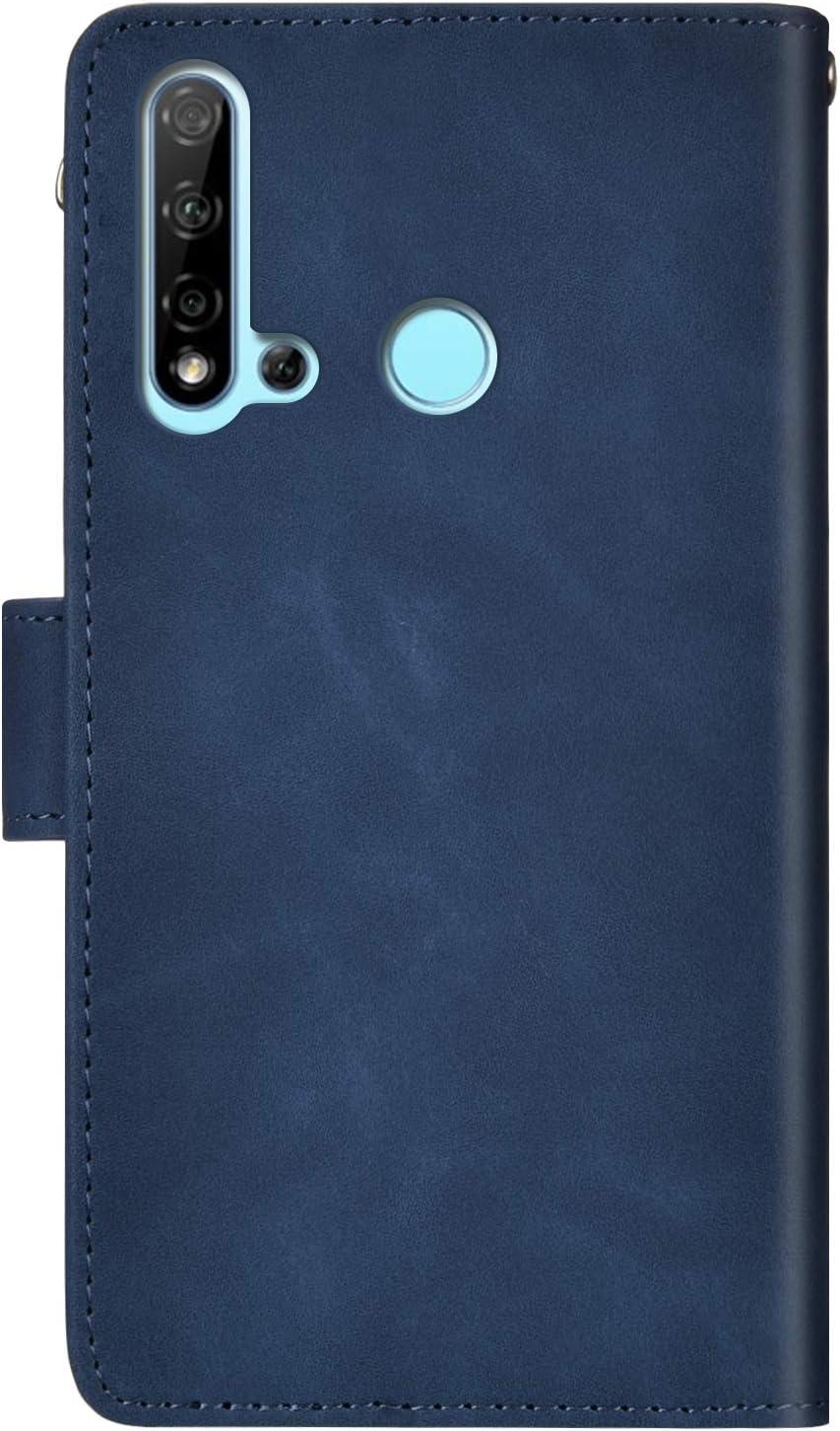 JAWSEU Coque Huawei P20 Lite 2019 /à Rabat en Cuir Etui Portefeuille Pochette PU pour Huawei P20 Lite 2019,R/étro Motif Housse Etui Protection Magn/étique PU Livre Flip Wallet Case Cover//Bleu