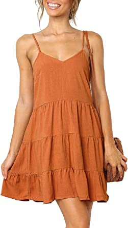 DanceWhale Womens Sleeveless V Neck Tunic Dress Casual Loose Swing Shift Dresses