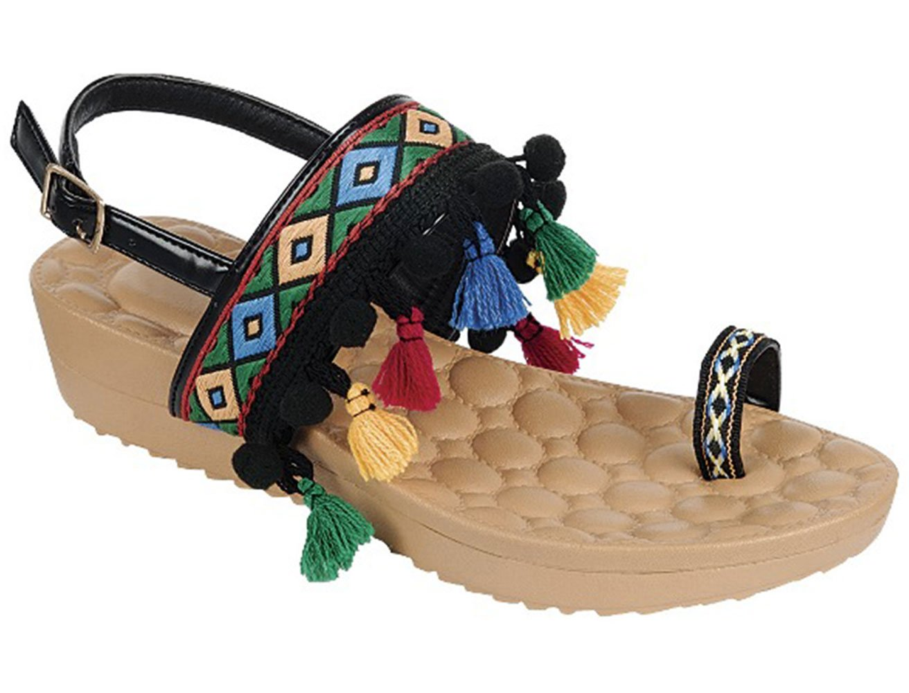 Top Black Wide Band Buckle Beaded Slingback Sandal Toe Ring Indian Ethnic Faux Leather Open Heel Comfy Walking Cushioned Colorful Flat Summer Basket Filler for Sale Women Teen Girl (Size 10, Black)