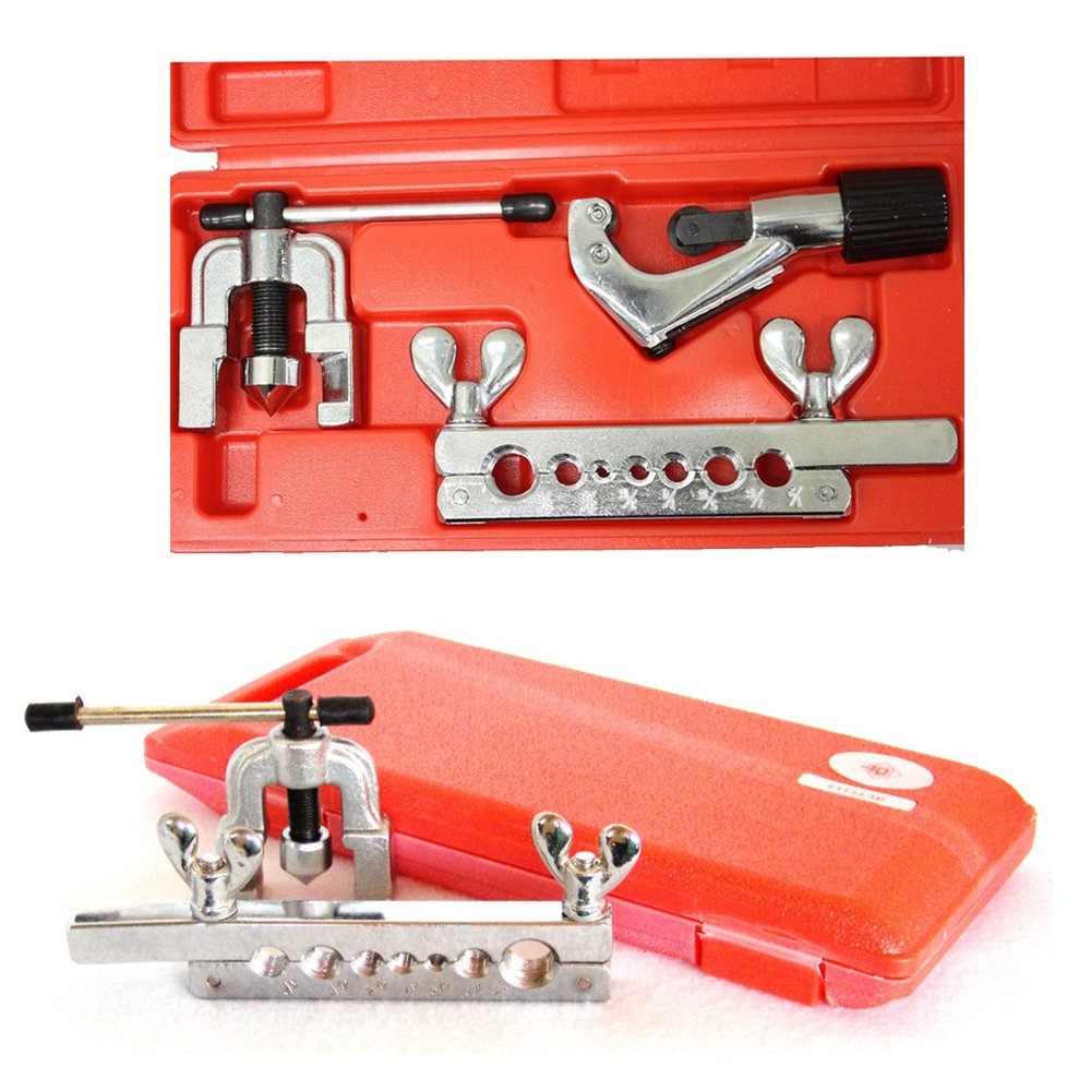 Compact Swage Tool Kit Double Flaring And Swaging For Refrigeration Soft Copper Tube With Self-Centering Slip-on Forged Steel Yoke To Help Form Professional And Quality Flares Pipe Tubing Equipment