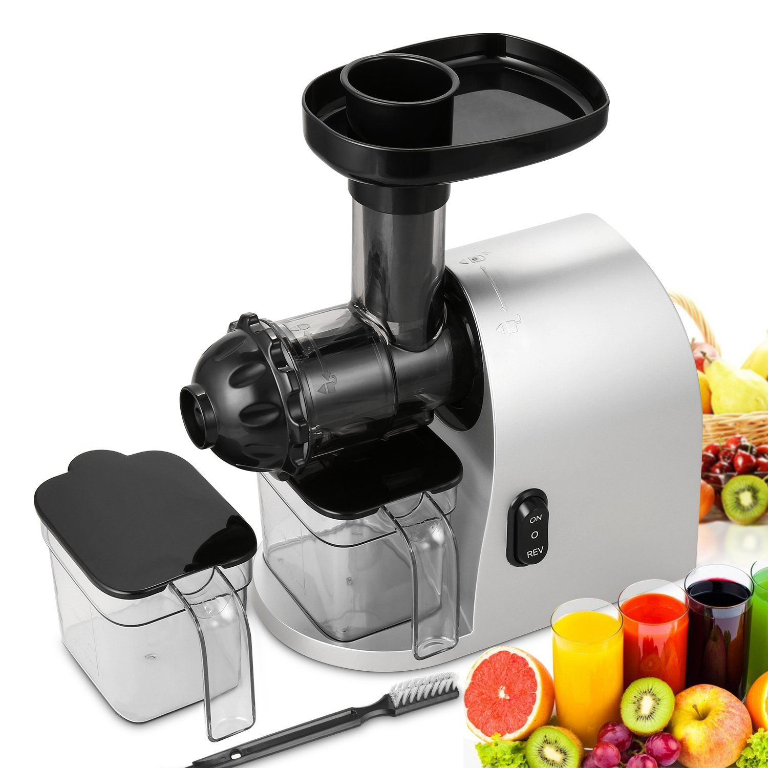 200W Electric Low Speed Masticating Juicer Lowest Noise Juicer Machine with Cleaning Brush Bigger Container Juicer