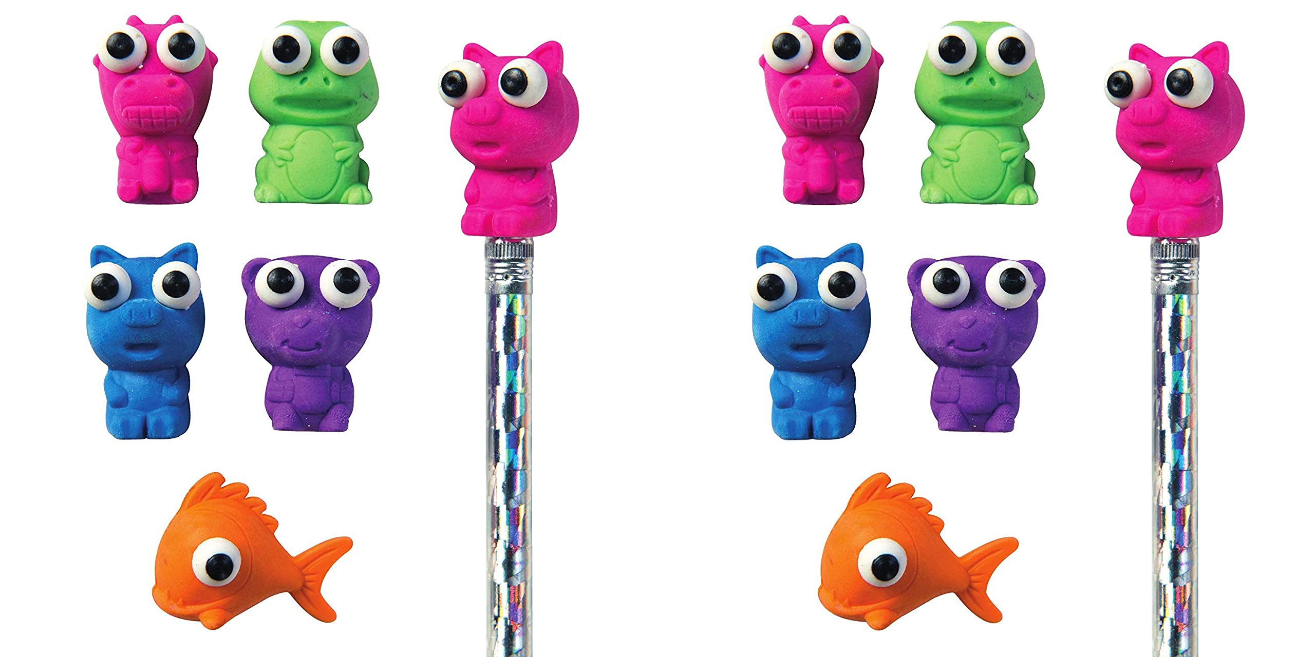 Raymond Geddes Here's Looking at You Eraser Pencil Toppers, Set of 50 (69005) (Тwo Рack, Assorted)