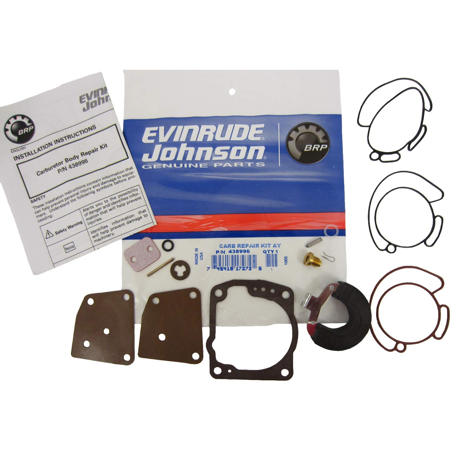 Amazon.com: OEM Evinrude Johnson BRP Carburetor Kit 1991-2006 90/115/150/175  Looper 0438996: Automotive