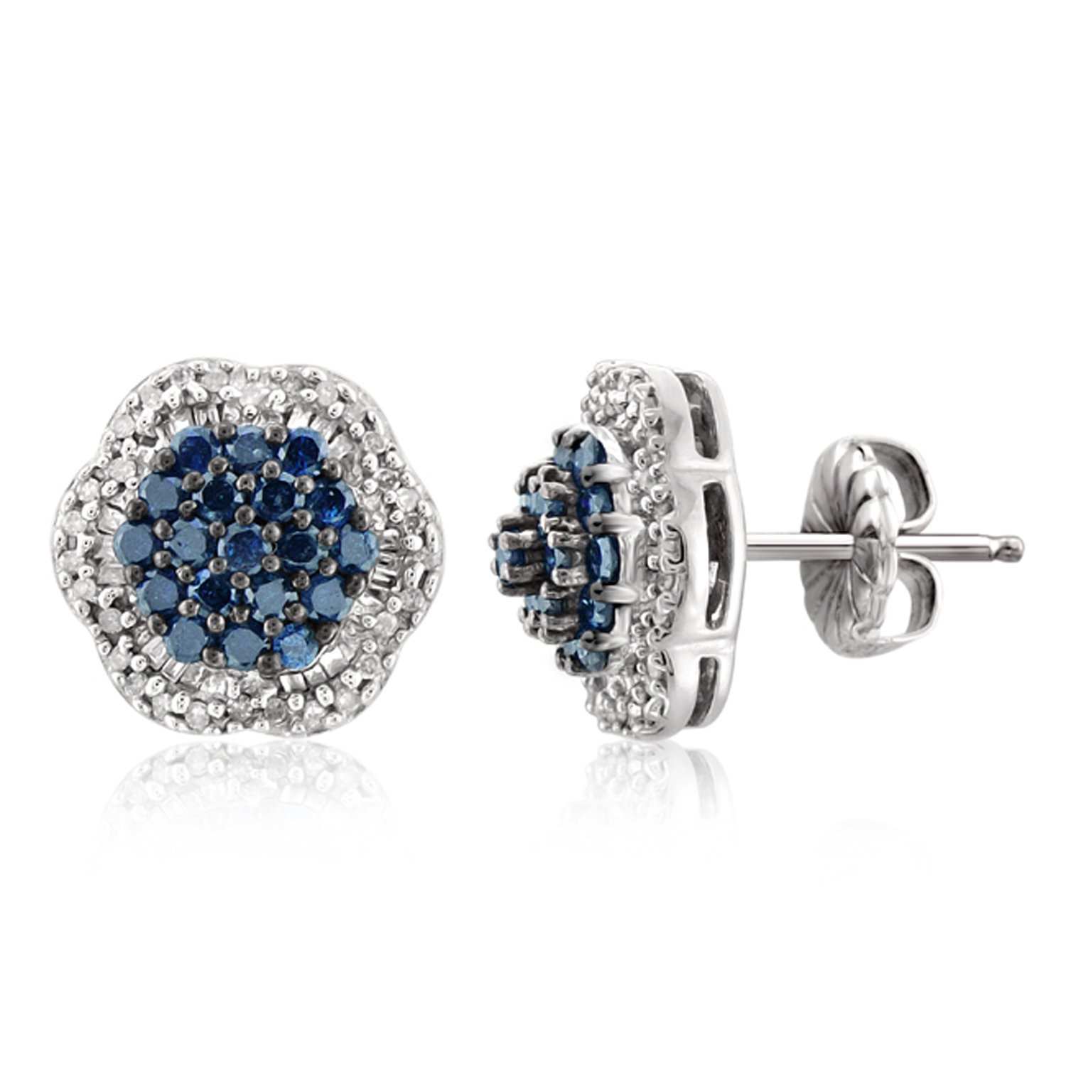 1.00 CTW Genuine Blue & White Diamond Sterling Silver Earring