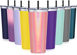 Travel Tumbler with Lid, Aikico 22oz Vacuum Insulated Coffee Tumblers Cups, Double Wall Travel Mug with Straws, Keeps Drinks Cold & Hot, Rainbow Rose Gold