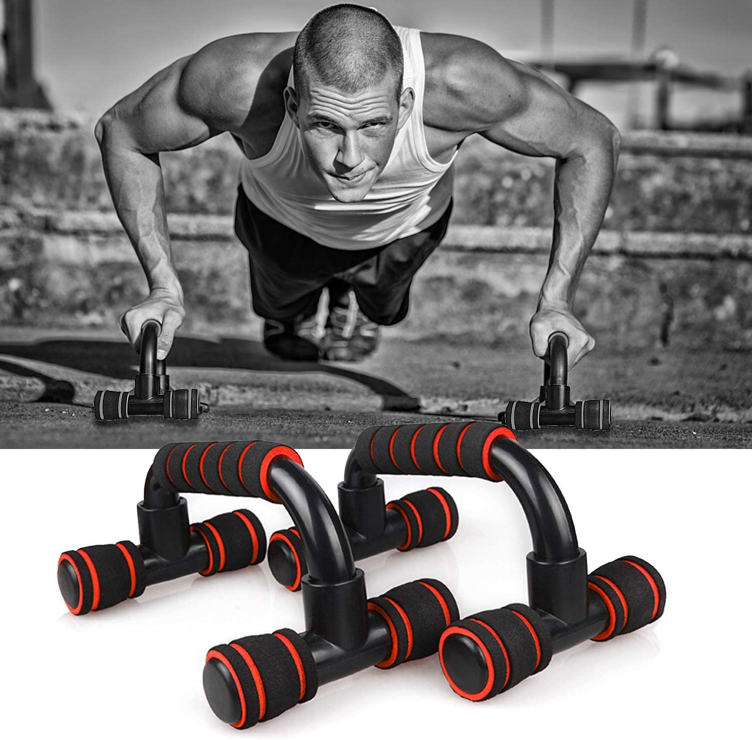 Zaleonline Pair of Push Up Bars Fitness Press Up Stands with Sponge Grip Handles for Gym Exercise Workout Training Trainer Sport Equipment for Men and Women