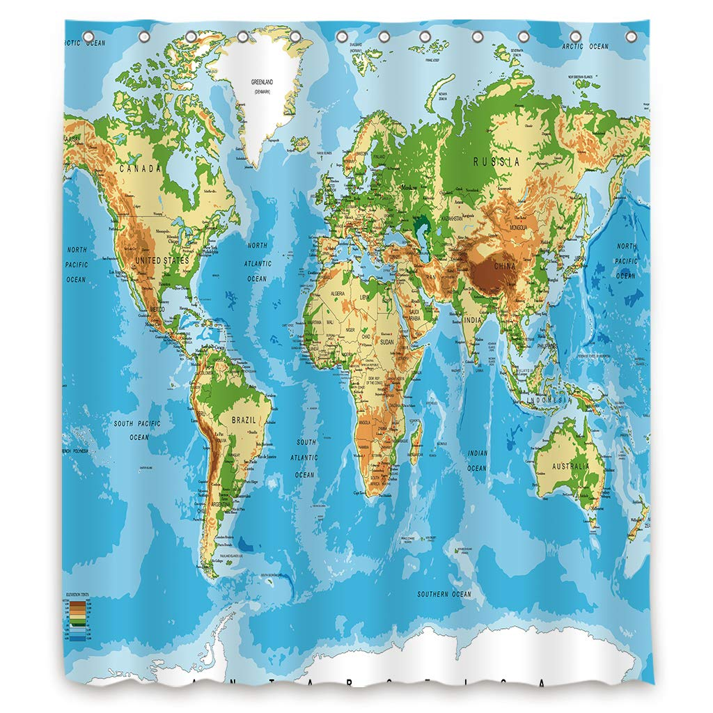 Riyidecor World Map Shower Curtains Geography Countries Capital Cities Blue  Earth Textile Decor Bathroom Accessories Set Fabric Polyester Multicolour  ...
