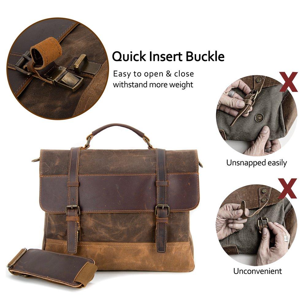 Kopack Waterproof Laptop Briefcase 15.6 inch Waxed Canvas Genuine Leather Laptop Bag Coffee by kopack (Image #2)