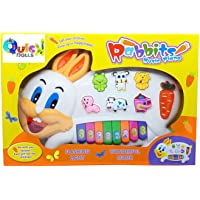 Quick Dolls Rabbits Musical Piano Toy with 3 Modes Animal Sounds, Flashing Lights & Wonderful Music
