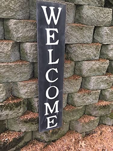 Welcome Sign 42u0026quot;   Welcome Vertical Wooden Sign   Farmhouse Style   Vertical Welcome Sign