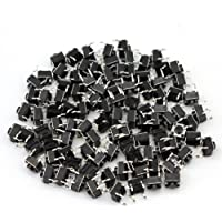 Refaxi 100pcs Tactile Push Button Switch Momentary Tact 6x6x5mm DIP Through-Hole 4pin