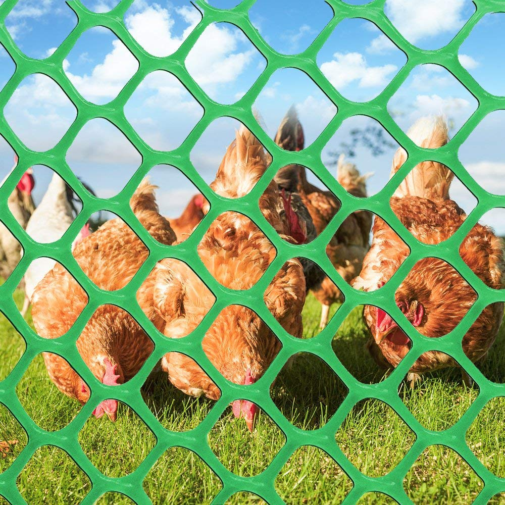 V Protek High Strength Plastic Poultry Fence Poultry Netting for Flower Plants Support,Chicken Net Fence 2/5'' Mesh,4x25ft,Green by V Protek