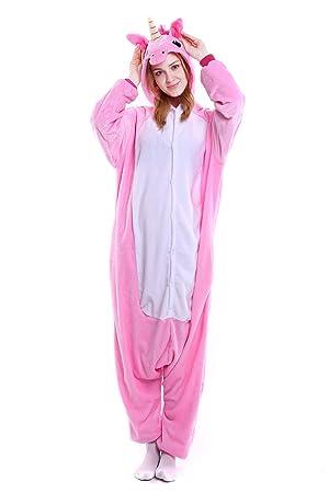 Heekpek® Pijama Animal Unicornio Entero Unisex para Adultos con Capucha Ropa de Dormir Traje de