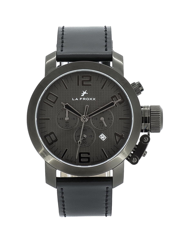 LA FROXX GRENADE Herren Armbanduhr Chronograph Quartz Edelstahl grau echtes Lederband 1608.59.22