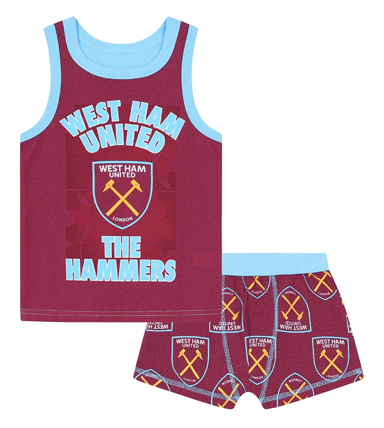 West Ham United FC Official Football Gift Boys Boxer Shorts & Vest Set