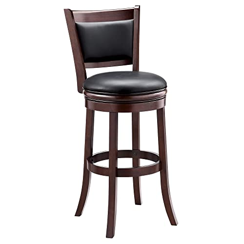 Ball Cast Jayden Wooden Swivel Bar Stool with Faux-Leather Upholstery – 29 Inch Seat Height, Cappuccino