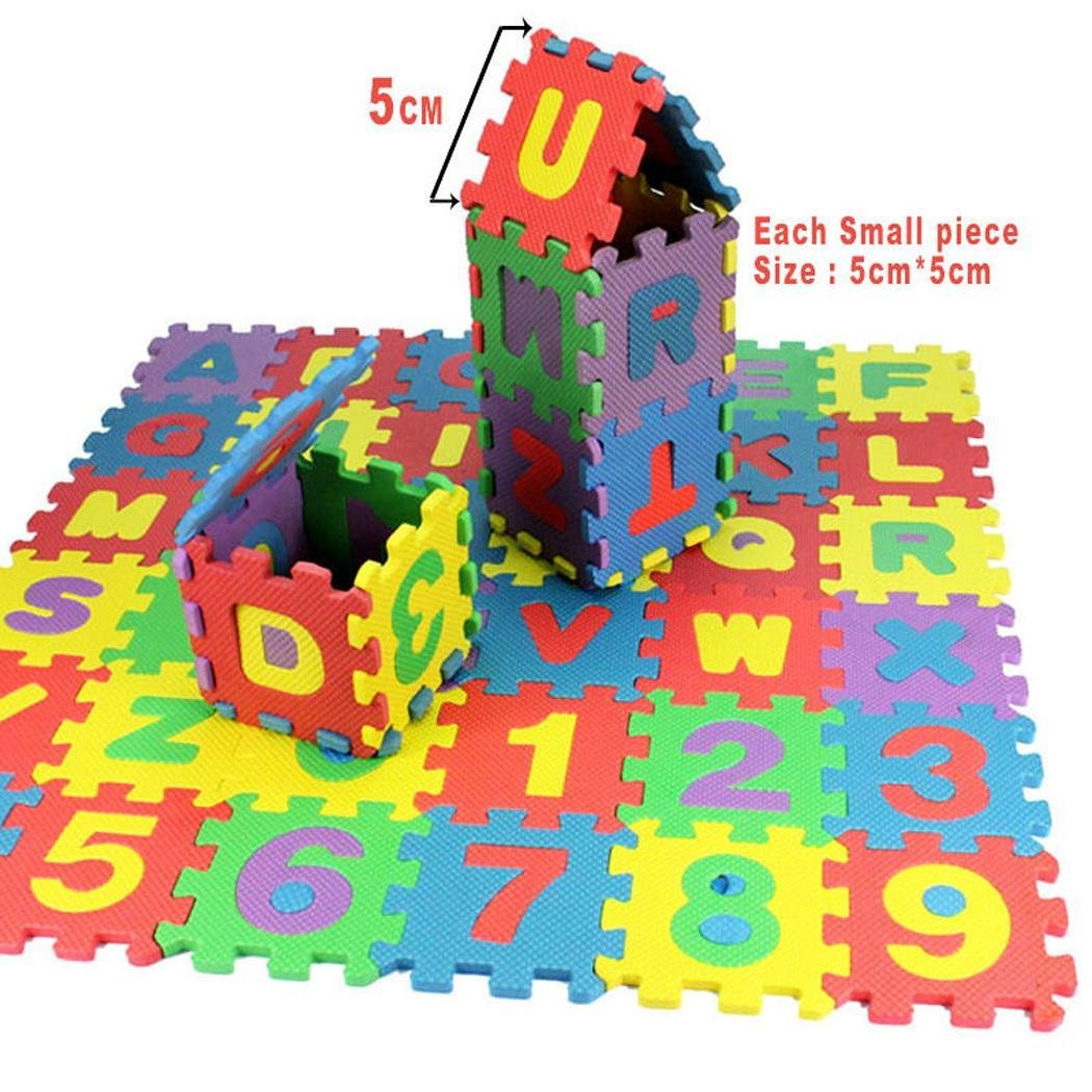 Cokil 36pcs/Set Baby Kids Alphanumeric Educational Puzzle Foam Mats Blocks Toy Gift Puzzle Play Mats by Cokil