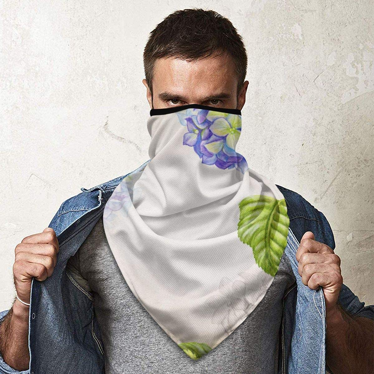Watercolor Hydrangea Botanic Neck Warmer Gaiter Windproof Sports Mask Face Motorcycle Mask Headband /& Beanie For Men Women Personalized