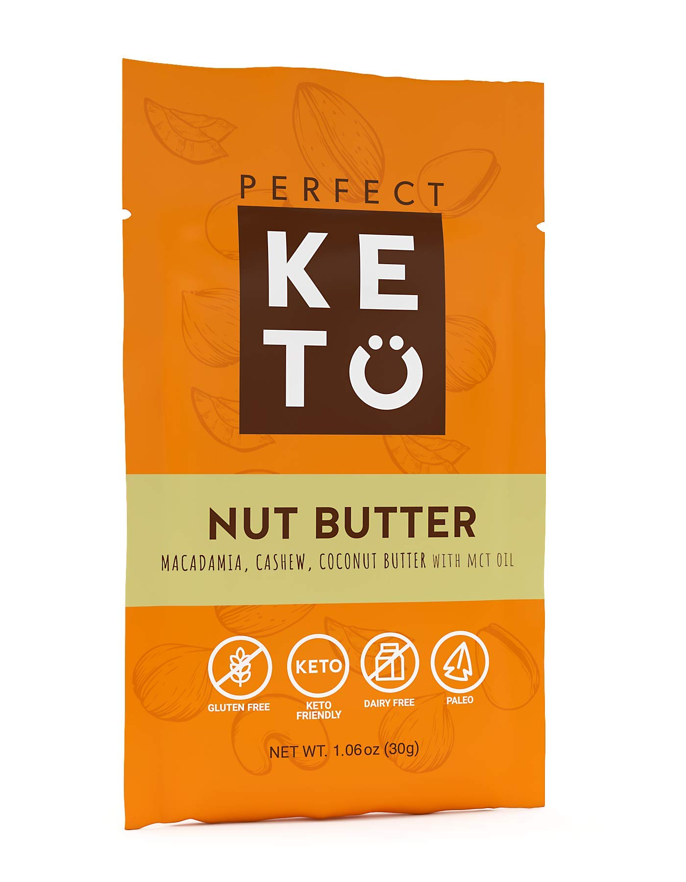 Perfect Keto Nut Butter Singles 10.6 oz : Fat Bomb to Support Weight Management on Ketogenic Diet. Ketosis Superfood Raw Nuts. Cashew Macadamia Coconut Vanilla Sea Salt. (pack 10)