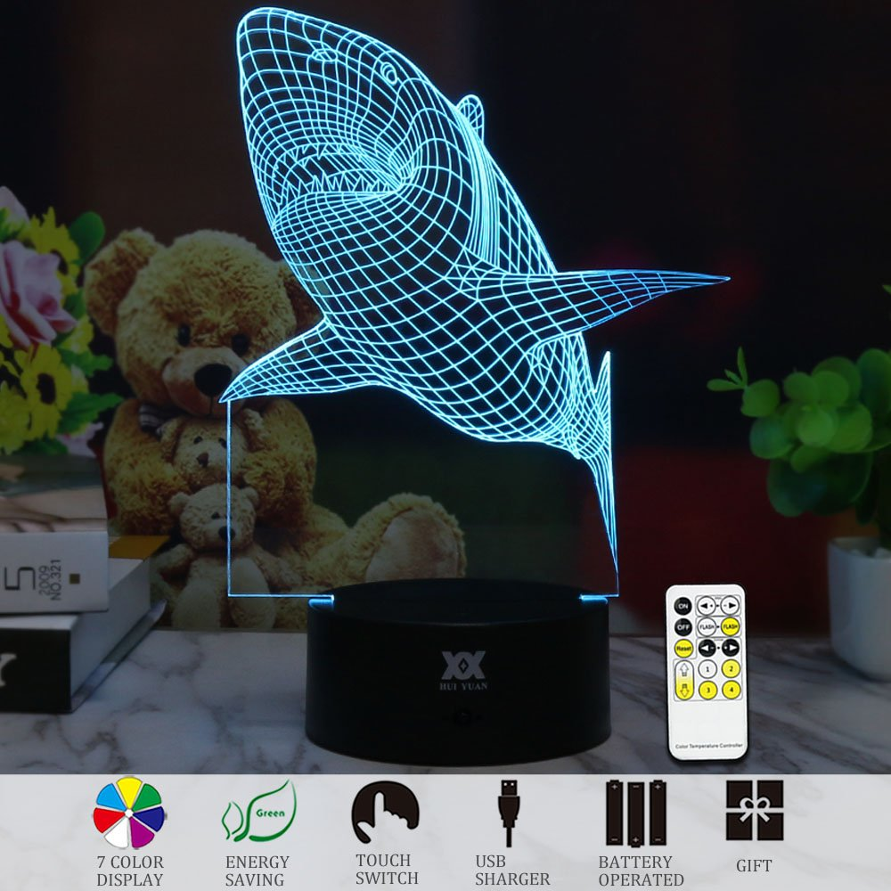 3D Illusion Animal Sharp shape Remote Control LED Desk Table Night Light Lamp 7 Color Touch Lamp Kiddie Kids Children Family Holiday Gift Home Office Childrenroom Theme Decoration by HUI YUAN