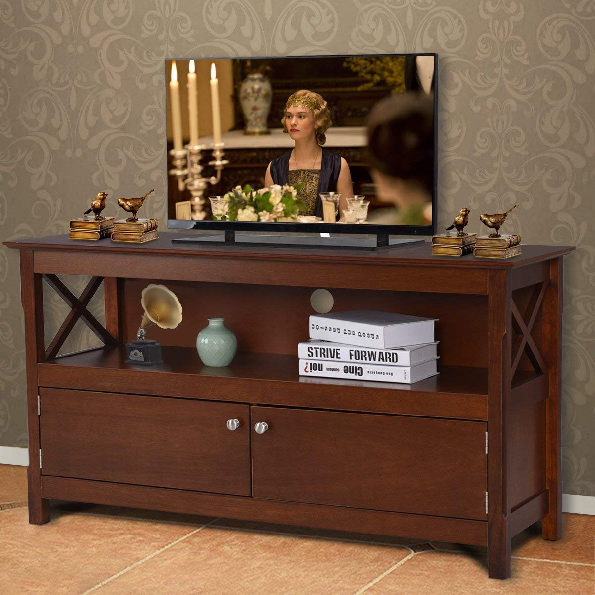 Tangkula Wood TV Stand, Modern Multipurpose Home Furniture Storage Console Entertainment Media Center Brown
