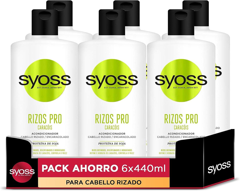 Syoss Rizos Pro Acondicionador para Cabello Rizado y Encaracolado - 6 Unidades de 440 ml, Total: 2640 ml