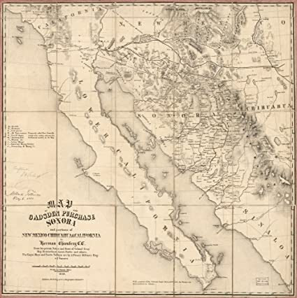 Sonora Arizona Map.Amazon Com Map 1858 Of The Gadsden Purchase Sonora And Portions