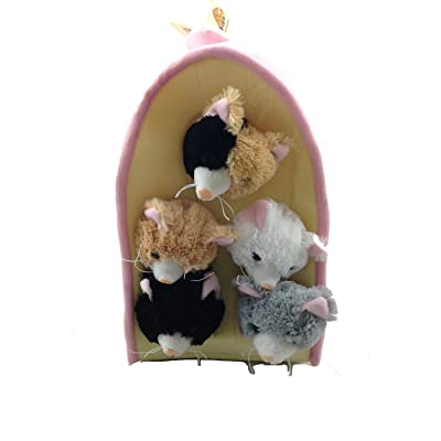 Plush Cat House with Cats - Five (5) Stuffed Animal Cats in Play Kitten House Carrying Case: Toys & Games