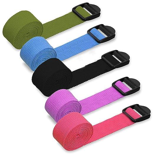 HUI JIN Cinturón de Yoga algodón Natural con Ajuste de ...