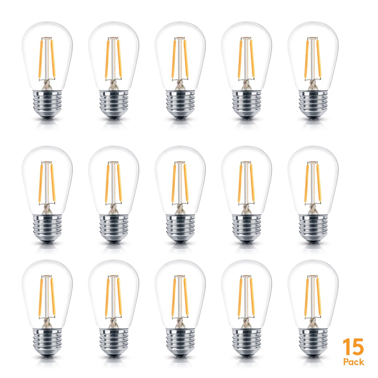 Brightech - Ambience PRO LED S14 1 Watt Bulb - 1 Watt - Use to Replace High-Heat, High-Cost Incandescent Bulbs in Outdoor String Lights - Edison-Inspired Exposed Filaments Design- 15 Pack