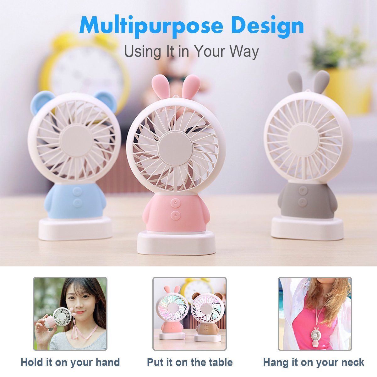BONTIME Portable Fan - Mini Hand held Fan, Rechargeable USB Fan with Colorful Night Light, 2 Speeds, Cooling for Traveling, Fishing, Camping by BONTIME (Image #7)