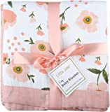 """Muslin Toddler Blanket -Floral Print Bamboo Everything Blanket - Oversized 47"""" x 47"""" - 2 Layers Muslin Stroller Blanket for Baby Girl (Floral) (Floral)"""