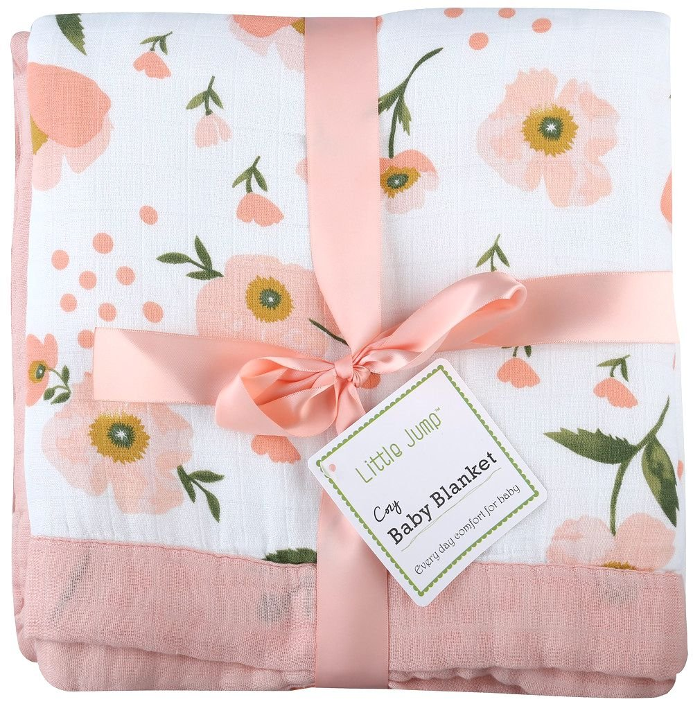 Muslin Toddler Blanket -''Floral Print'' Bamboo Muslin Quilt - Oversized 47'' x 47'' - 2 Layers Muslin Stroller Blanket for Baby Girl (Floral) (Floral) by LittleJump