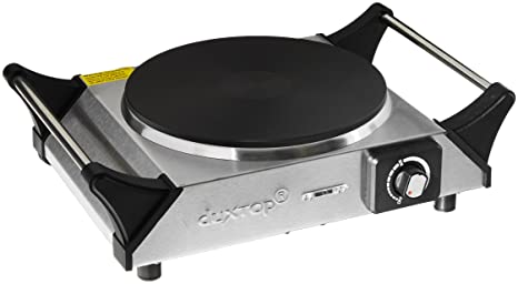 DUXTOP 1500W Portable Electric Cast Iron Cooktop Countertop Burner (Single)