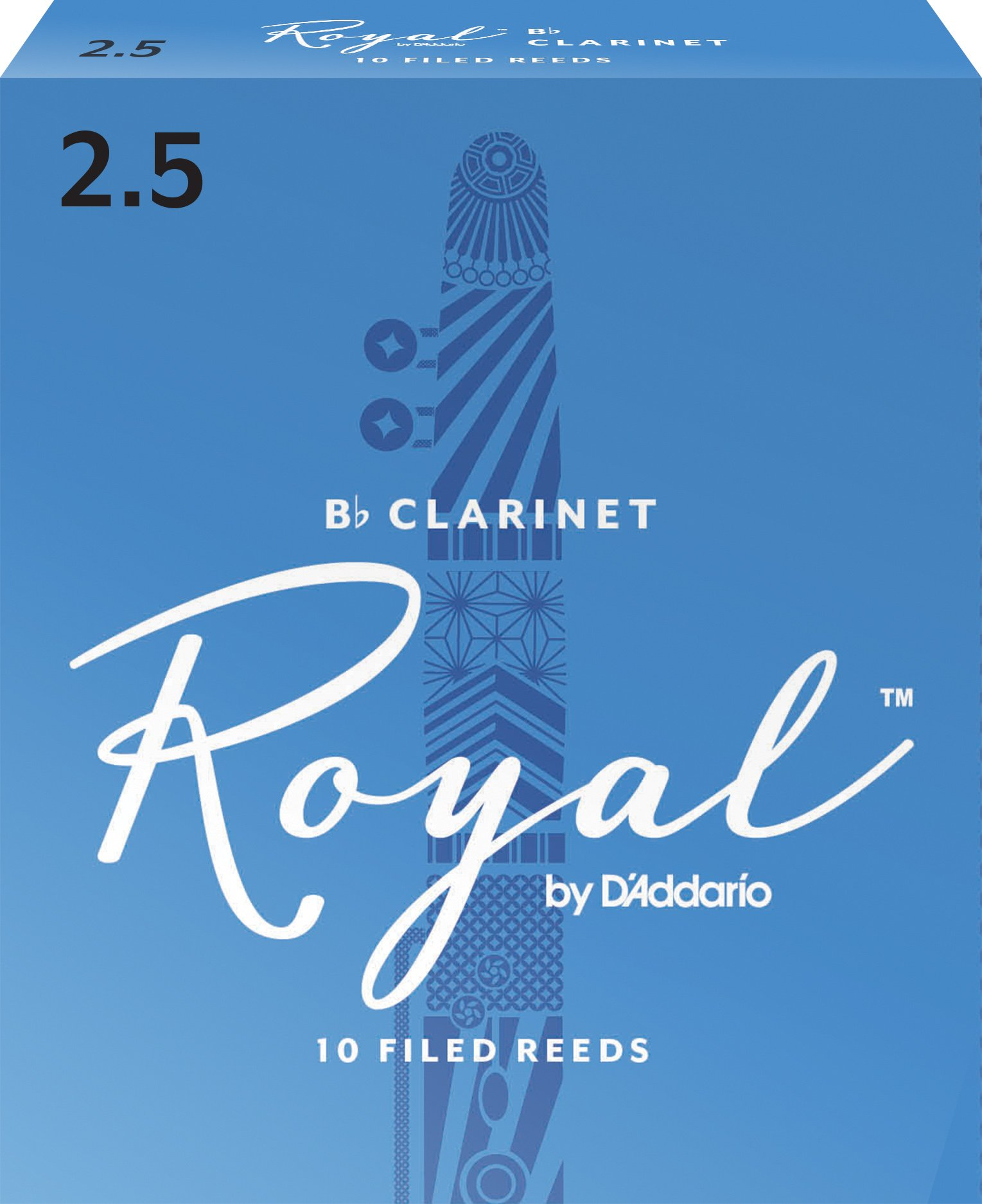 Royal by D'Addario RCB1025 Bb Clarinet Reeds, Strength 2.5, 10-pack